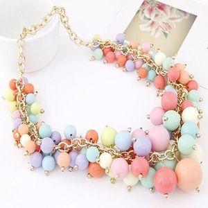 Chunky Multicolor Beaded Bib Necklace